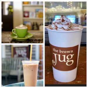 Images of coffee drinks from the brown Jug